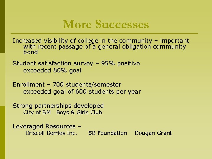 More Successes Increased visibility of college in the community – important with recent passage
