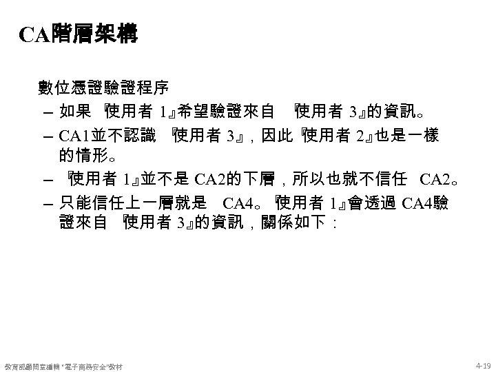 CA階層架構 數位憑證驗證程序 – 如果 『 使用者 1』 希望驗證來自 『 使用者 3』 的資訊。 – CA