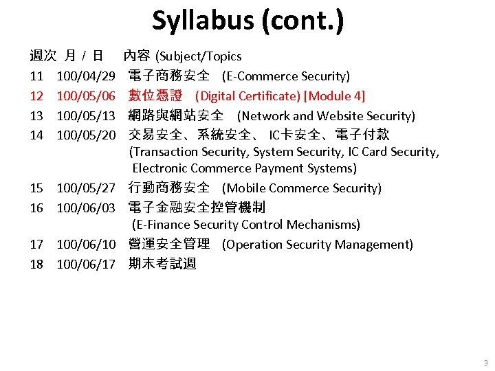 Syllabus (cont. ) 週次 月/日 11 100/04/29 12 100/05/06 13 100/05/13 14 100/05/20 15