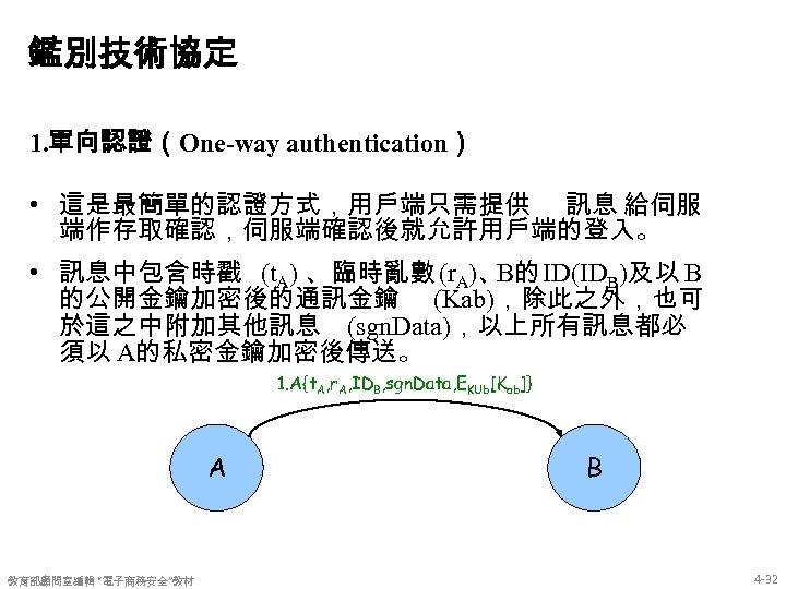 鑑別技術協定 1. 單向認證(One-way authentication) • 這是最簡單的認證方式,用戶端只需提供 訊息 給伺服 端作存取確認,伺服端確認後就允許用戶端的登入。 • 訊息中包含時戳 (t. A) 、臨時亂數