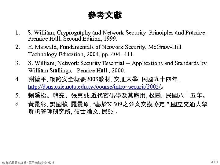 參考文獻 1. 2. 3. 4. 5. 6. S. William, Cryptography and Network Security: Principles