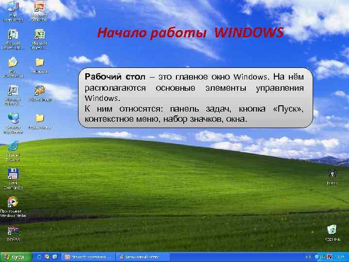 Начало работы WINDOWS Рабочий стол – это главное окно Windows. На нём располагаются основные