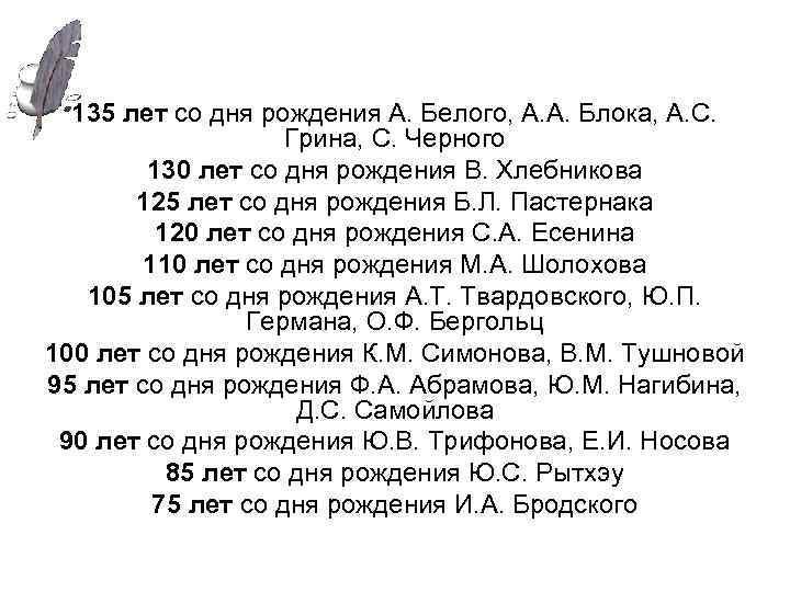 135 лет со дня рождения А. Белого, А. А. Блока, А. С. Грина, С.