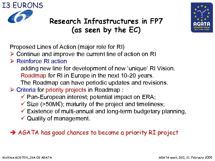 I 3 EURONS Research Infrastructures in FP 7 (as seen by the EC) Proposed