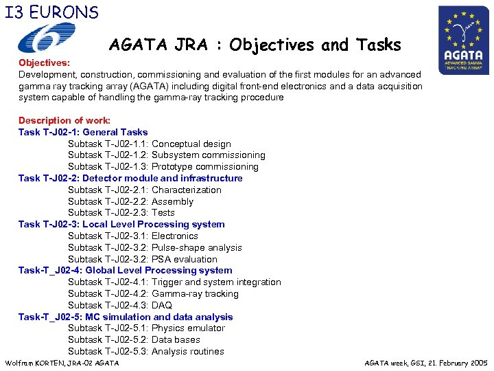 I 3 EURONS AGATA JRA : Objectives and Tasks Objectives: Development, construction, commissioning and