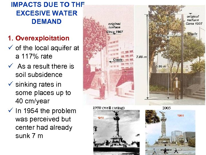 IMPACTS DUE TO THE EXCESIVE WATER DEMAND 1. Overexploitation ü of the local