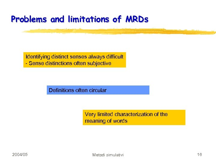 Problems and limitations of MRDs Identifying distinct senses always difficult - Sense distinctions often