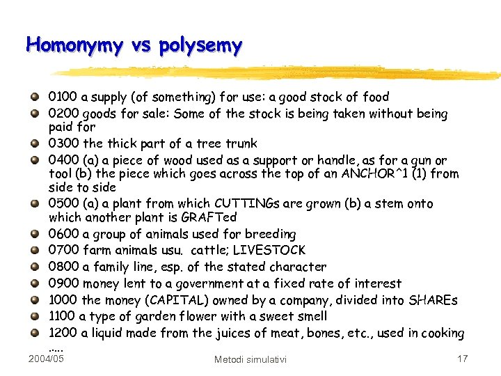 Homonymy vs polysemy 0100 a supply (of something) for use: a good stock of
