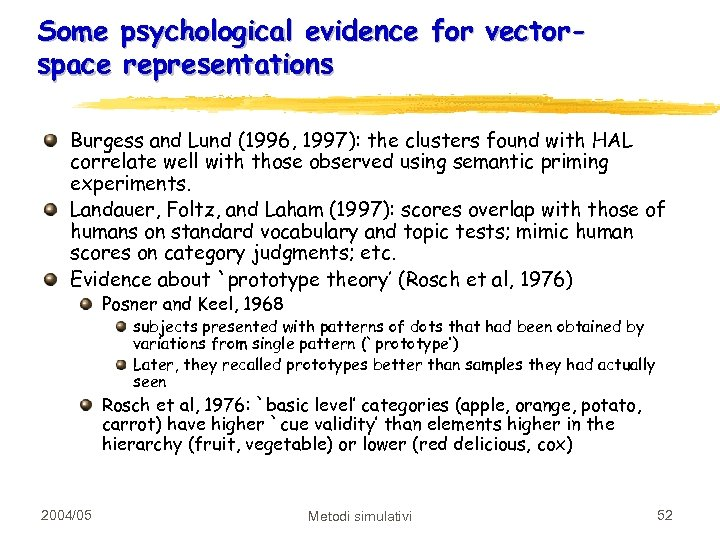 Some psychological evidence for vectorspace representations Burgess and Lund (1996, 1997): the clusters found