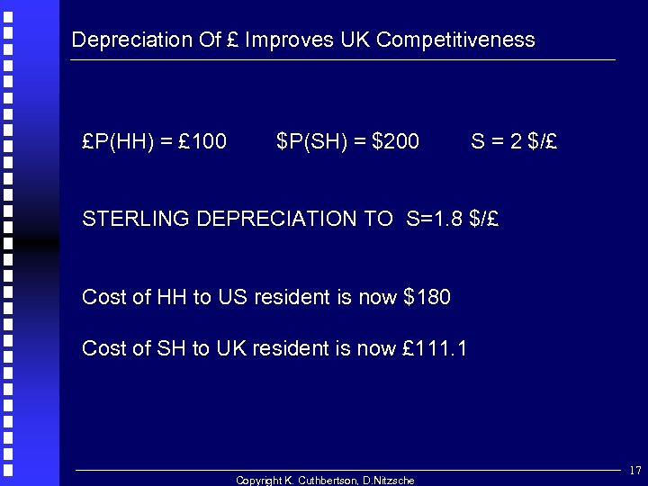 Depreciation Of £ Improves UK Competitiveness £P(HH) = £ 100 $P(SH) = $200 S