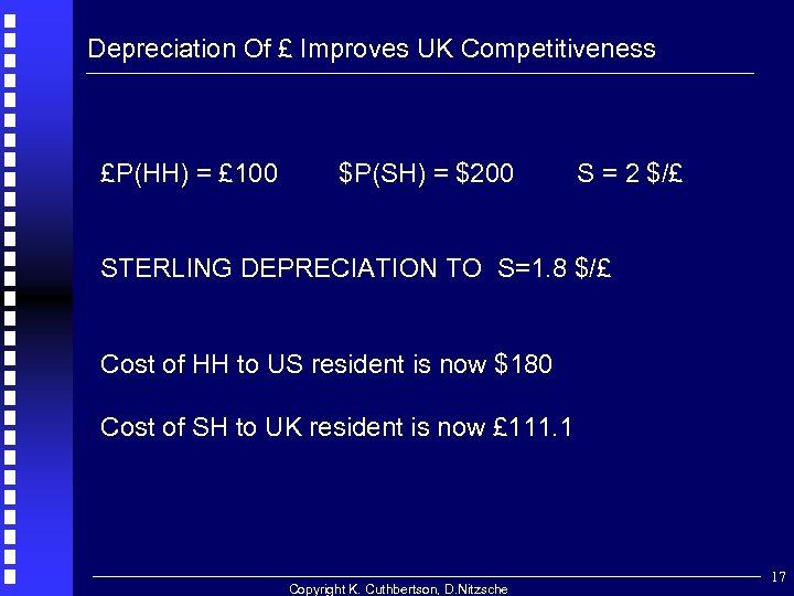 Depreciation Of £ Improves UK Competitiveness £P(HH) = £ 100 $P(SH) = $200 S