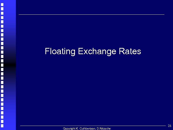 Floating Exchange Rates Copyright K. Cuthbertson, D. Nitzsche 23