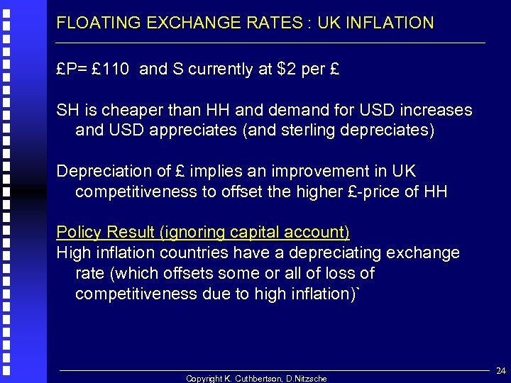 FLOATING EXCHANGE RATES : UK INFLATION £P= £ 110 and S currently at $2