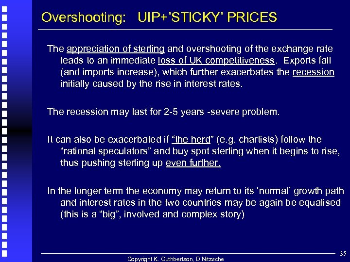 Overshooting: UIP+'STICKY' PRICES The appreciation of sterling and overshooting of the exchange rate leads
