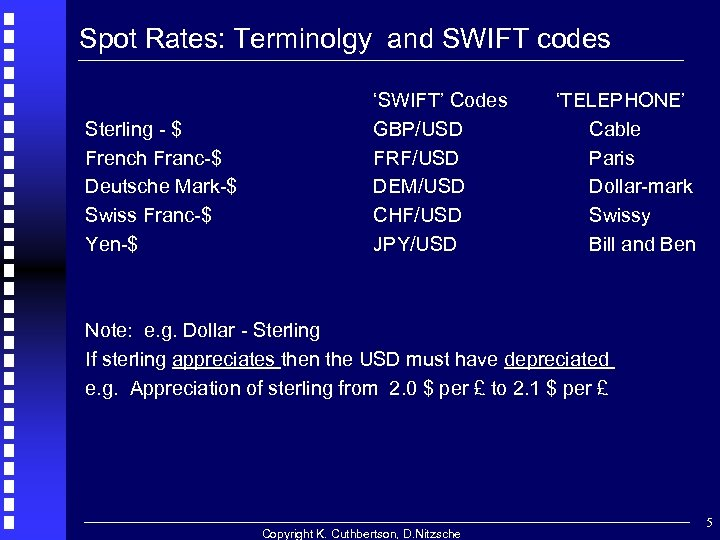 Spot Rates: Terminolgy and SWIFT codes Sterling - $ French Franc-$ Deutsche Mark-$ Swiss