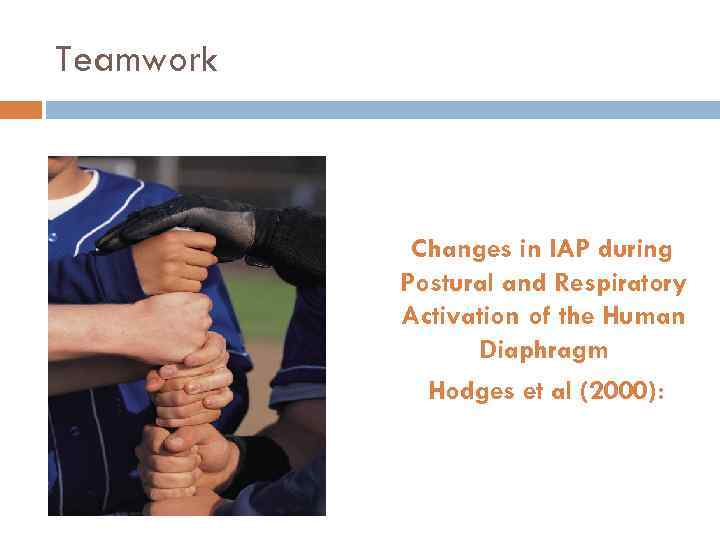 Teamwork Changes in IAP during Postural and Respiratory Activation of the Human Diaphragm Hodges
