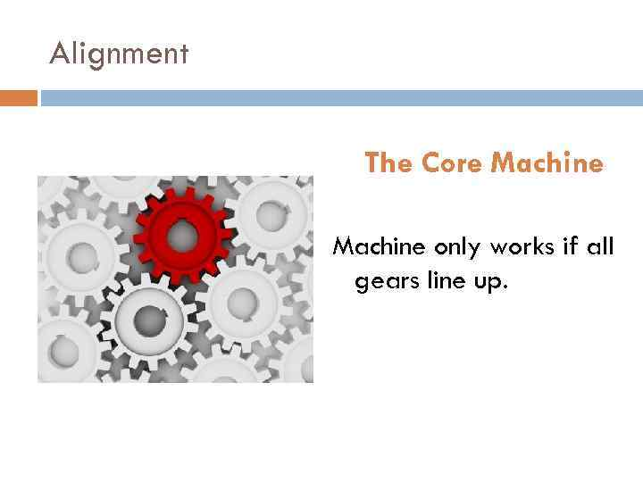 Alignment The Core Machine only works if all gears line up.