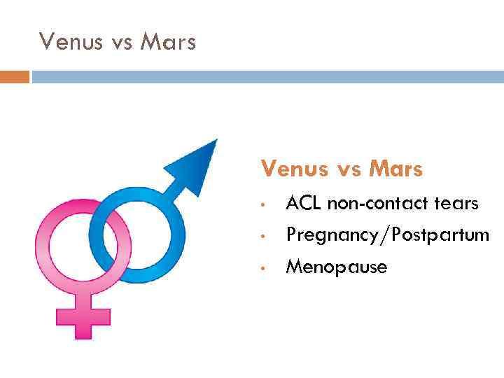 Venus vs Mars • • • ACL non-contact tears Pregnancy/Postpartum Menopause
