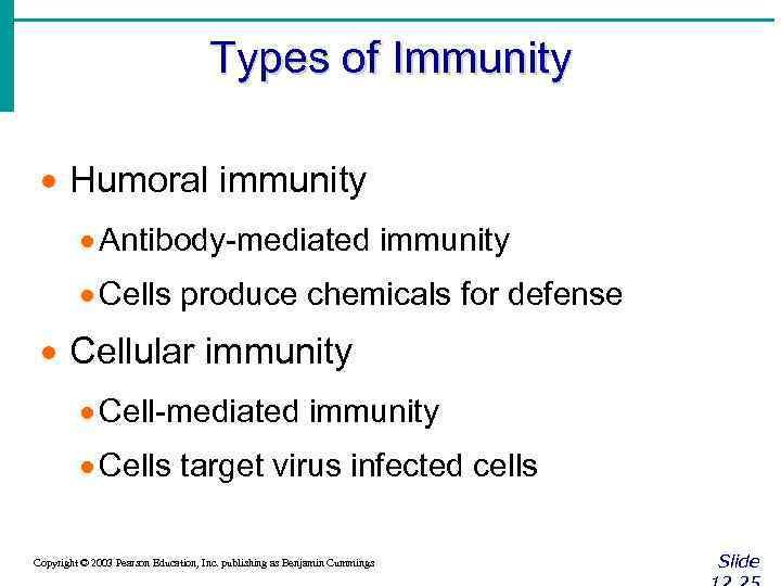 Types of Immunity · Humoral immunity · Antibody-mediated immunity · Cells produce chemicals for