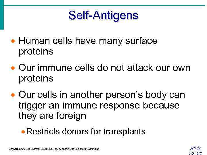 Self-Antigens · Human cells have many surface proteins · Our immune cells do not