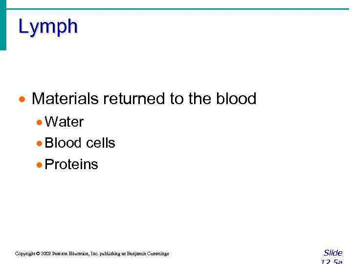 Lymph · Materials returned to the blood · Water · Blood cells · Proteins