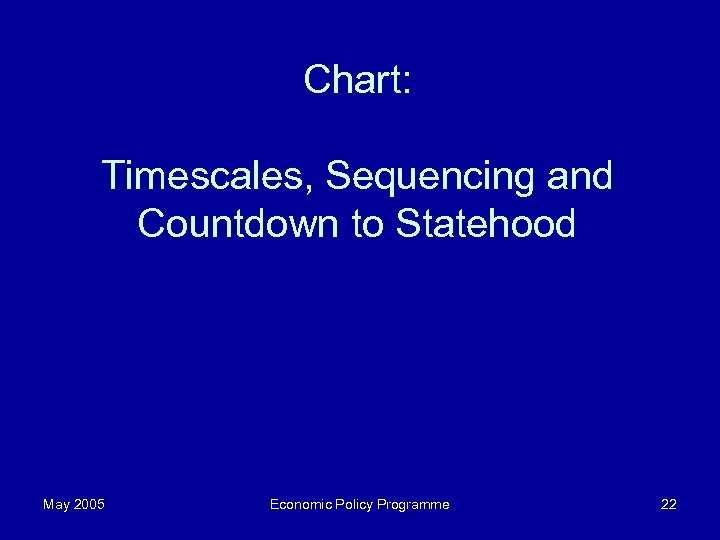 Chart: Timescales, Sequencing and Countdown to Statehood May 2005 Economic Policy Programme 22