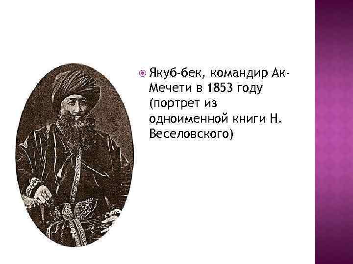 Якуб-бек, командир Ак. Мечети в 1853 году (портрет из одноименной книги Н. Веселовского)