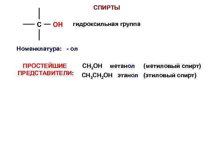 СПИРТЫ гидроксильная группа Номенклатура: - ол ПРОСТЕЙШИЕ ПРЕДСТАВИТЕЛИ: СH 3 OH метанол (метиловый спирт)