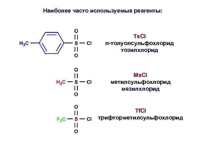 Наиболее часто используемые реагенты: Ts. Cl п-толуолсульфохлорид тозилхлорид Ms. Cl метилсульфохлорид мезилхлорид Tf. Cl
