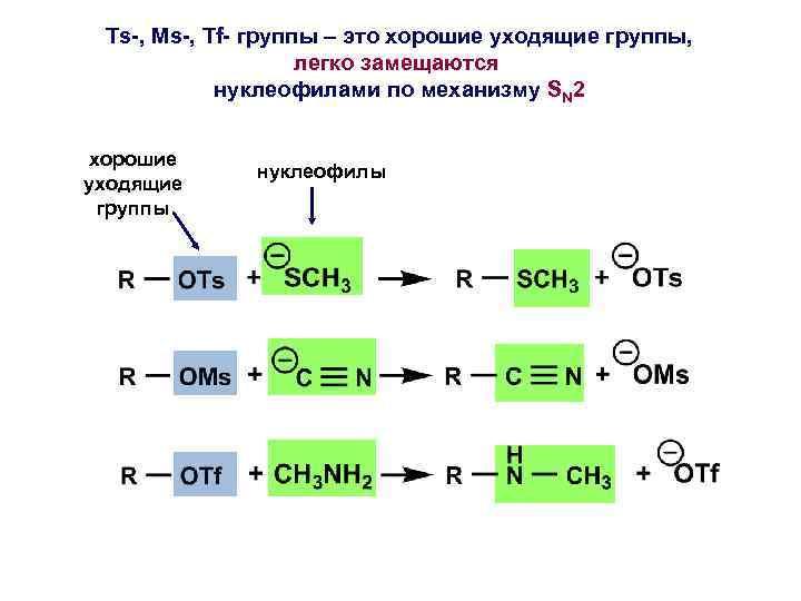 Ts-, Ms-, Tf- группы – это хорошие уходящие группы, легко замещаются нуклеофилами по механизму