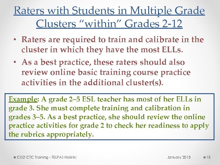 """Raters with Students in Multiple Grade Clusters """"within"""" Grades 2 -12 • Raters are"""