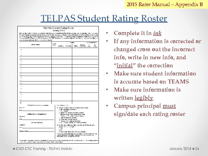 2015 Rater Manual – Appendix B TELPAS Student Rating Roster • Complete it in