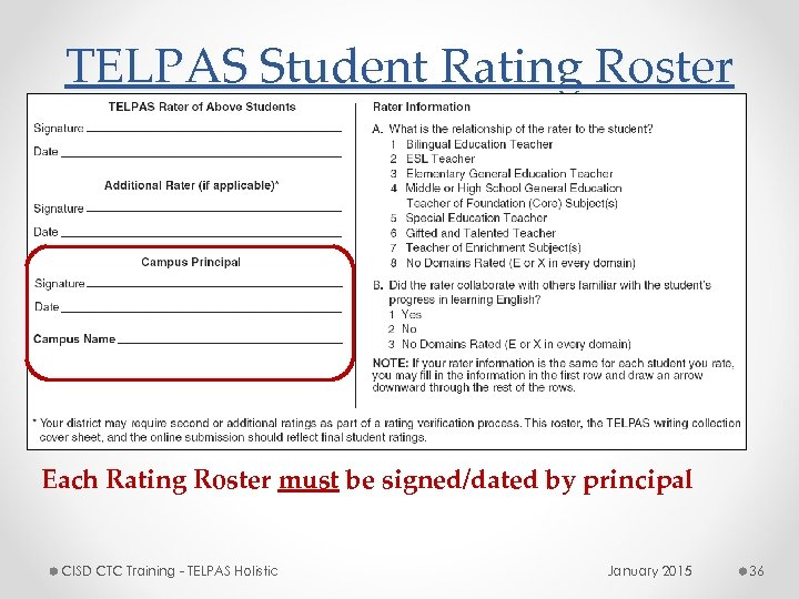 TELPAS Student Rating Roster Each Rating Roster must be signed/dated by principal CISD CTC