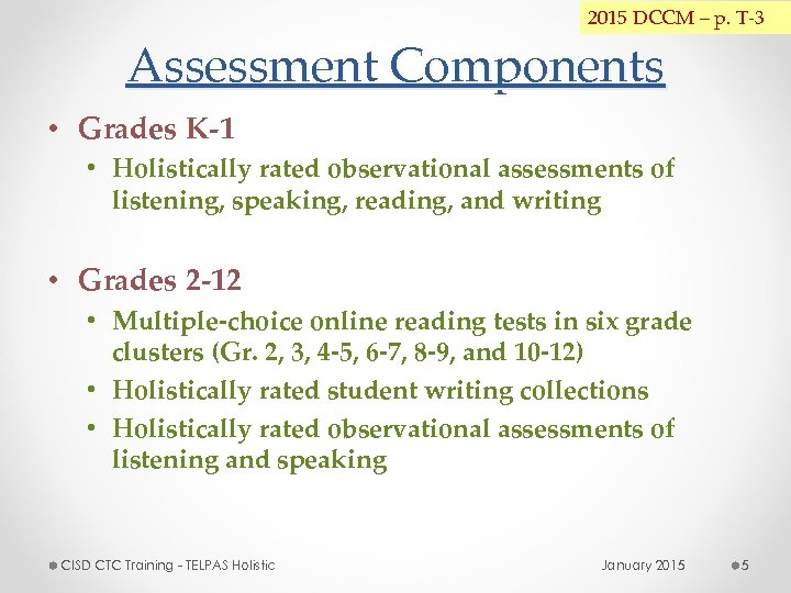 2015 DCCM – p. T-3 Assessment Components • Grades K-1 • Holistically rated observational