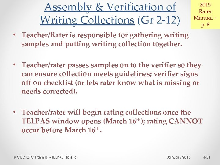 Assembly & Verification of Writing Collections (Gr 2 -12) 2015 Rater Manual – p.