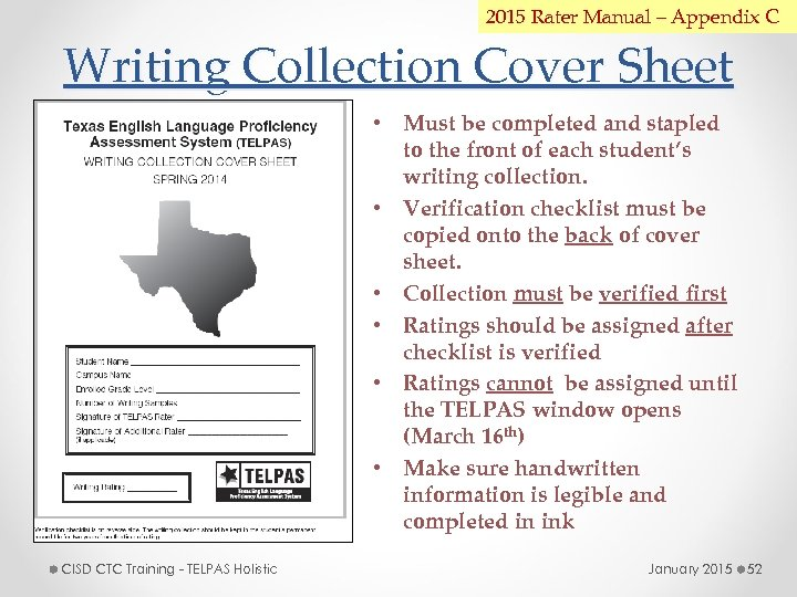 2015 Rater Manual – Appendix C Writing Collection Cover Sheet • Must be completed