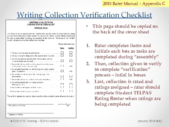 2015 Rater Manual – Appendix C Writing Collection Verification Checklist • This page should