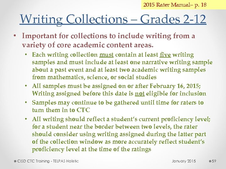2015 Rater Manual– p. 18 Writing Collections – Grades 2 -12 • Important for