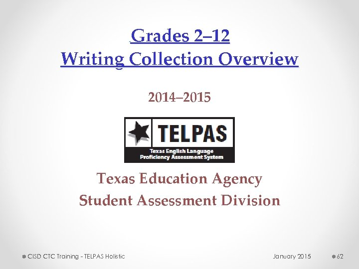 Grades 2– 12 Writing Collection Overview 2014– 2015 Texas Education Agency Student Assessment Division
