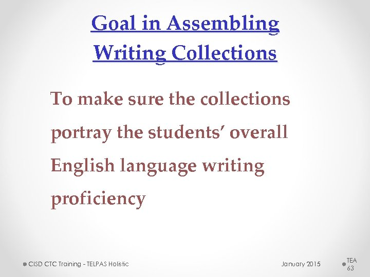Goal in Assembling Writing Collections To make sure the collections portray the students' overall