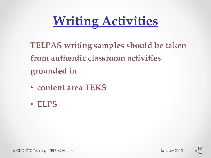 Writing Activities TELPAS writing samples should be taken from authentic classroom activities grounded in