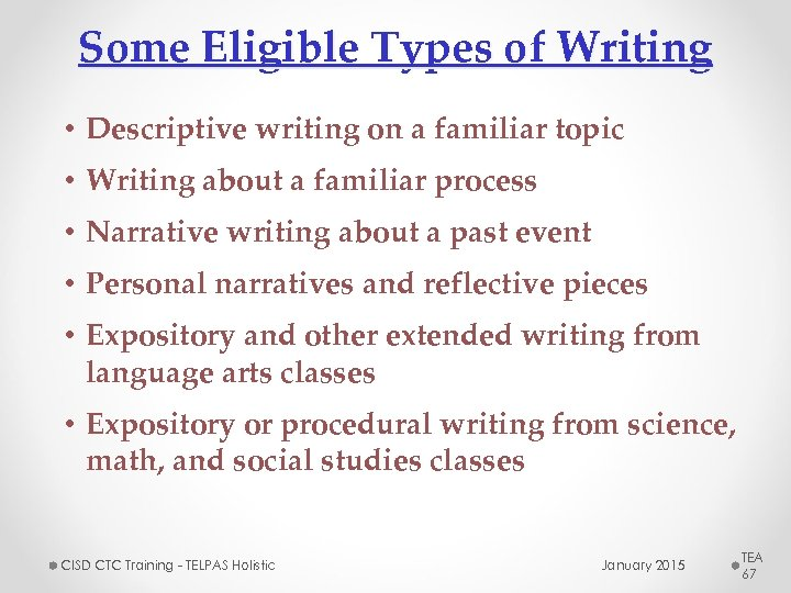 Some Eligible Types of Writing • Descriptive writing on a familiar topic • Writing