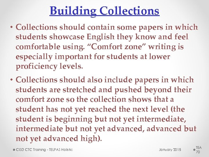 Building Collections • Collections should contain some papers in which students showcase English they