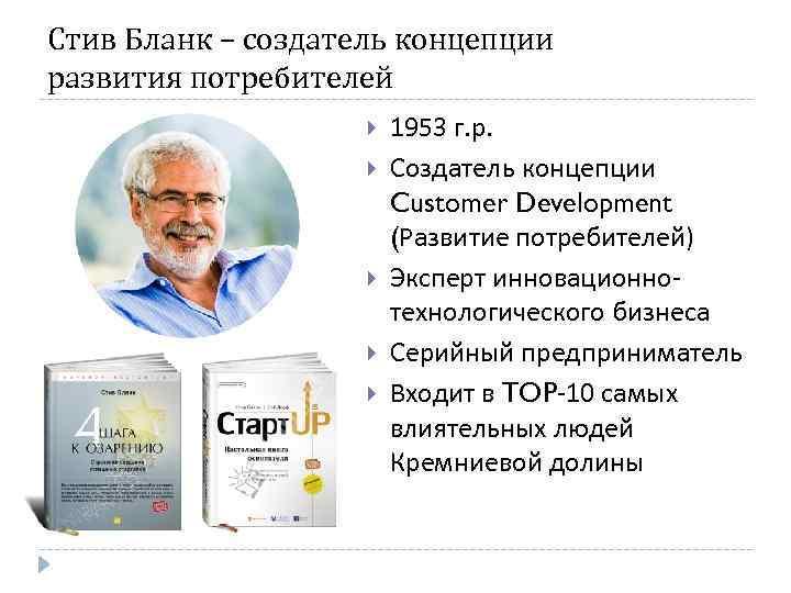 Стив Бланк – создатель концепции развития потребителей 1953 г. р. Создатель концепции Customer Development