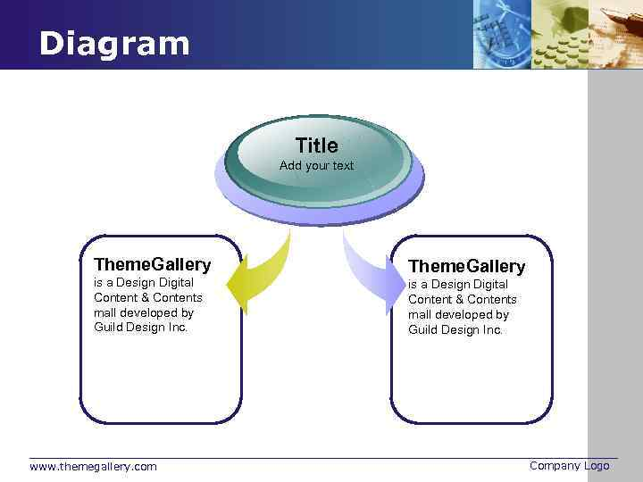Diagram Title Add your text Theme. Gallery is a Design Digital Content & Contents