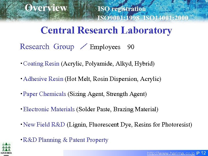Overview ISO registration        ISO 9001: 1998 ISO 14001: 2000  Central Research Laboratory Research