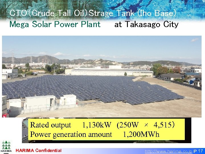 CTO(Crude Tall Oil)Strage Tank (Iho Base) Mega Solar Power Plant at Takasago City    Iho