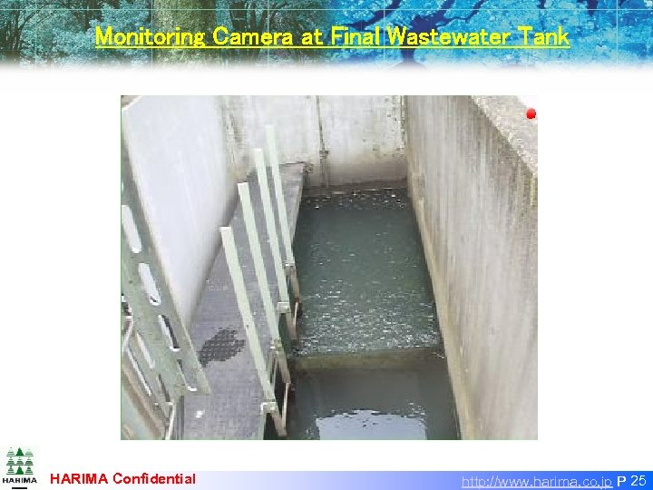 Monitoring Camera at Final Wastewater Tank HARIMA Confidential http: //www. harima. co. jp P