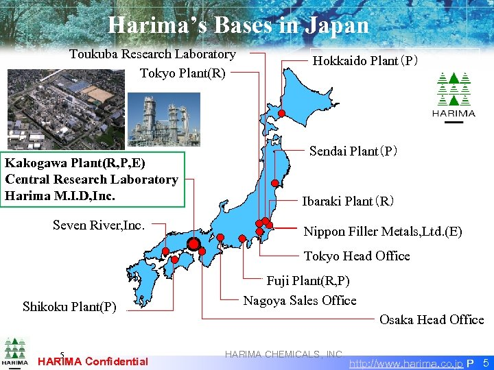 Harima's Bases in Japan Toukuba Research Laboratory Tokyo Plant(R) Kakogawa Plant(R, P, E) Central