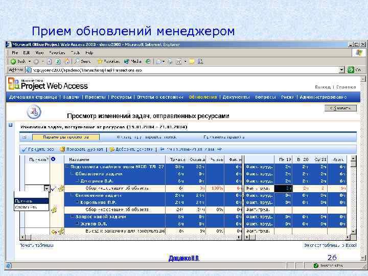 Прием обновлений менеджером Доценко Н. В. 26